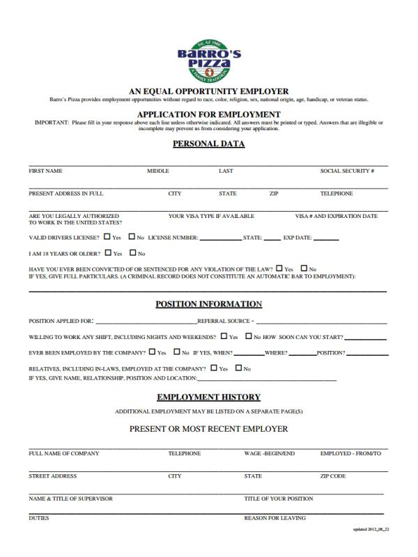 pizza pizza job application form pdf