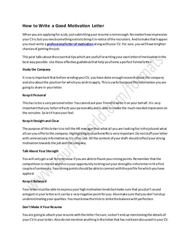 how to write a motivation letter for job application pdf