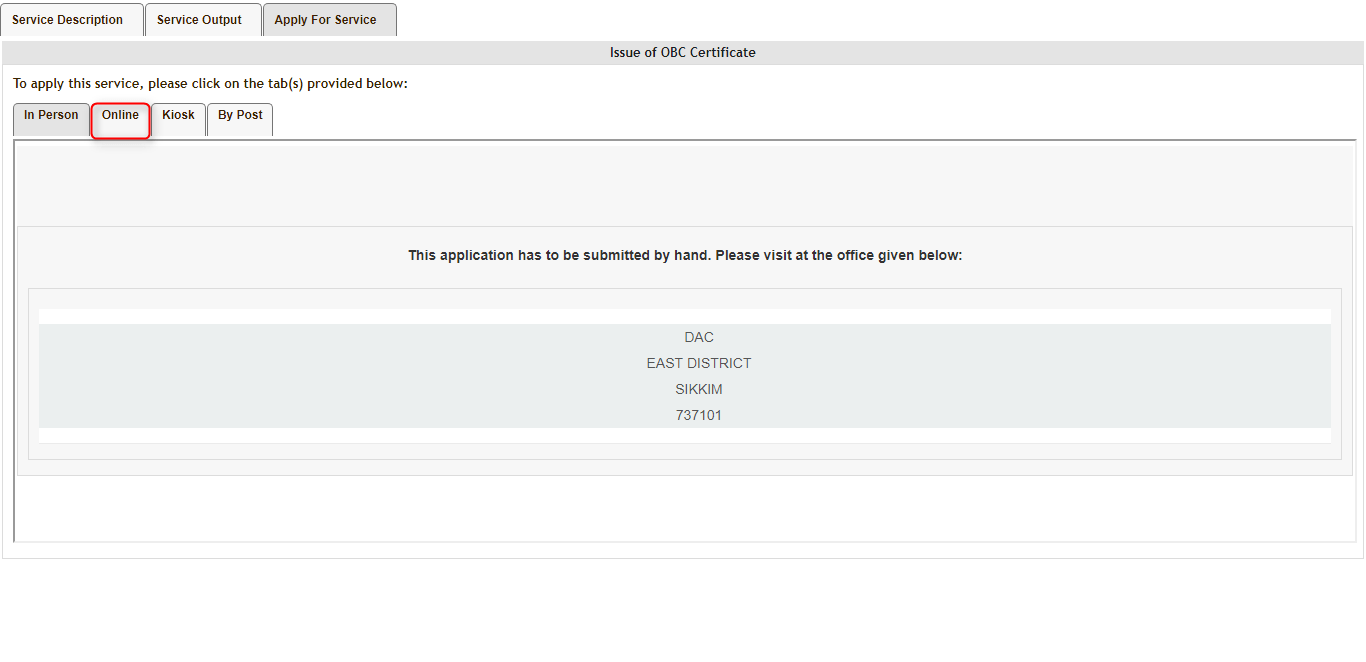 obc bank online application form