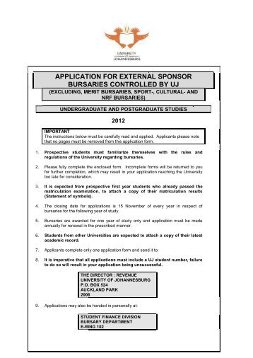 the university of johannesburg application forms