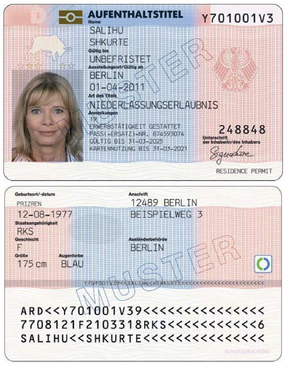 permanent resident card application number