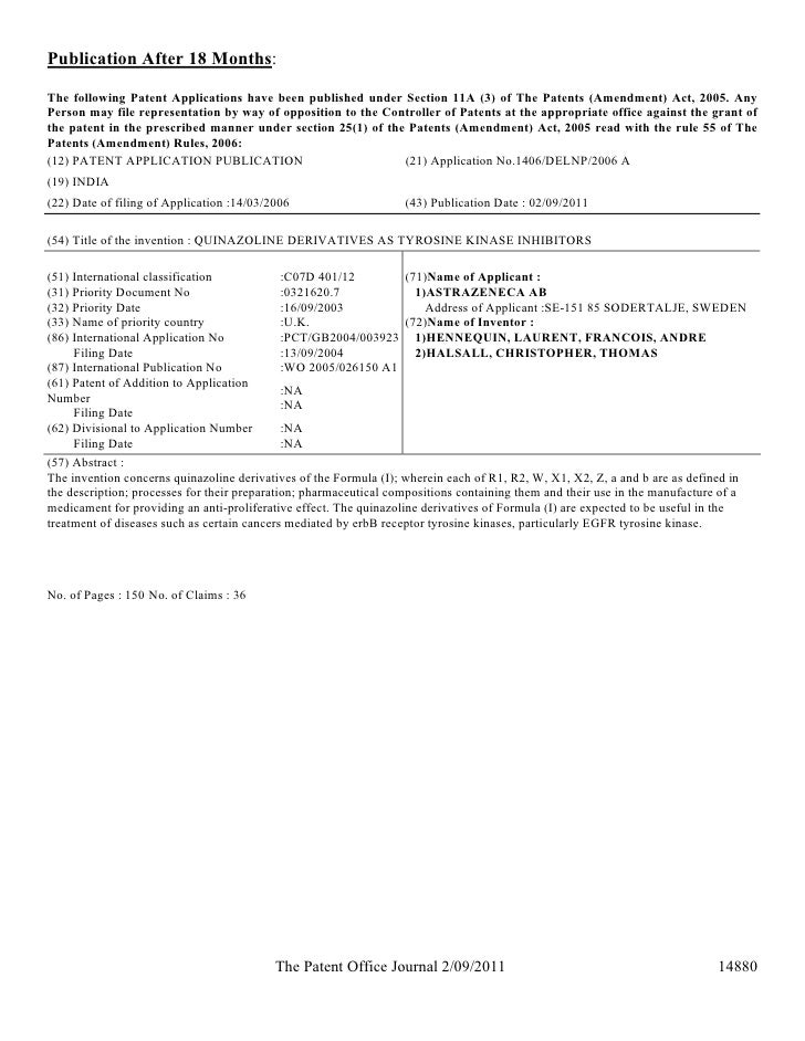 patent application not yet published