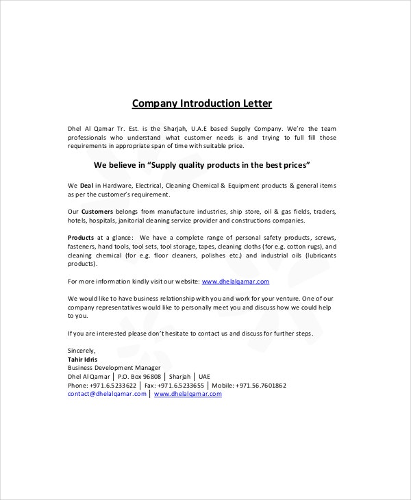 introductory letter for visa application russia