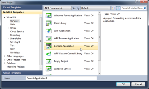 visual studio console application c