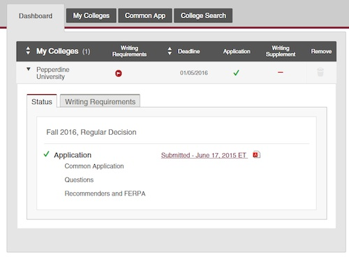 what does incomplete mean on a college application