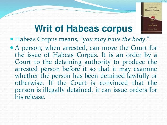application for habeas corpus ontario