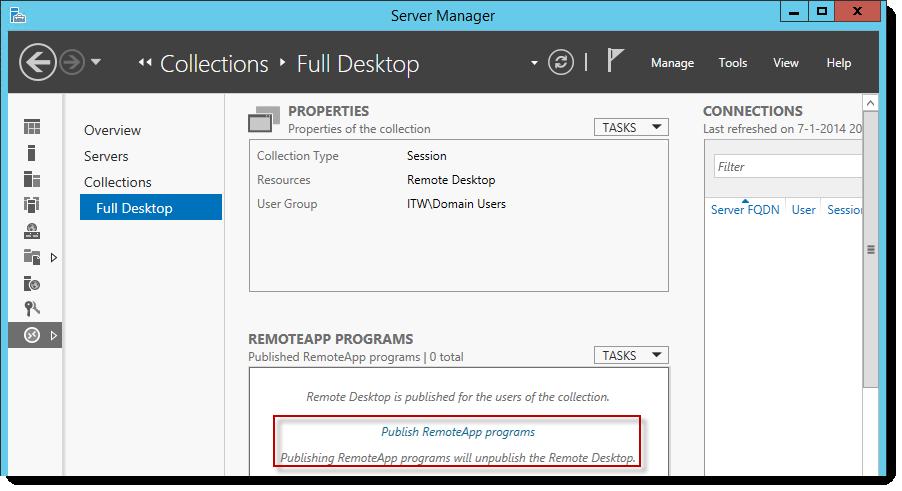 publish applications using remote desktop services 2016