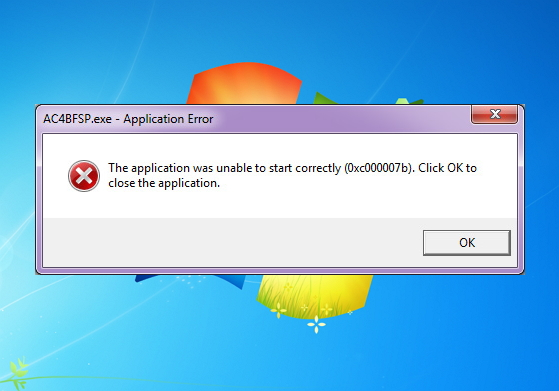 application is unable to start correctly 0xc0000005