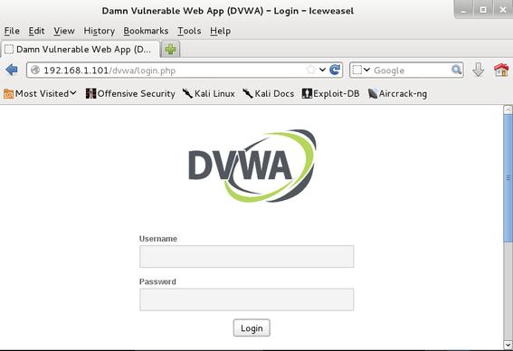 damn vulnerable web application login