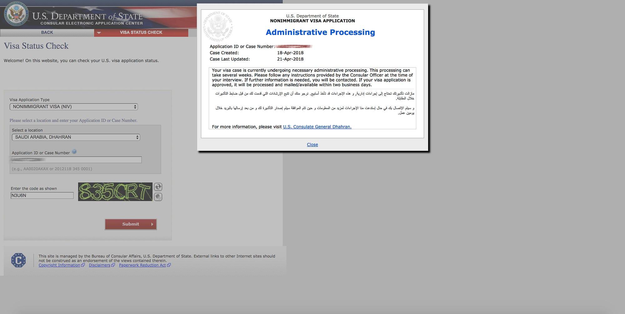 us consulate visa application status