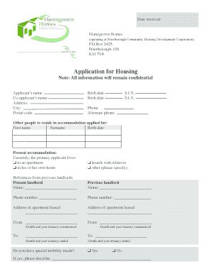 peterbroug ontario housing application pdf
