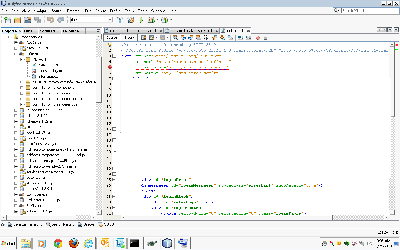 my first web application in java netbeans