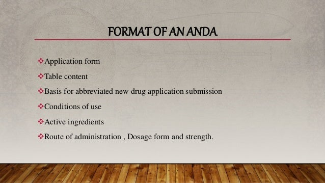 basis for abbreviated new drug application submission