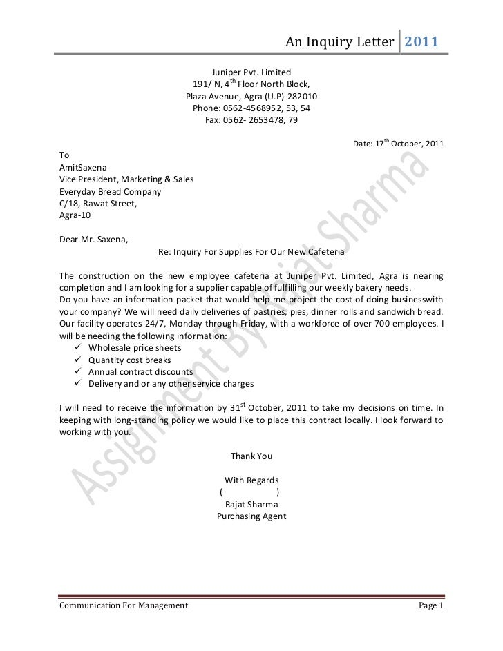 sample email of application enquiry