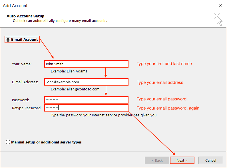 how to add email to a online application