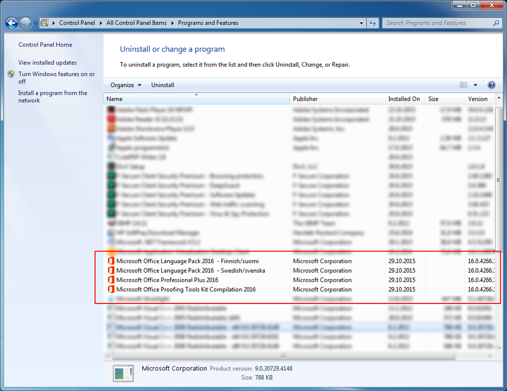 how to remove application from programs and features