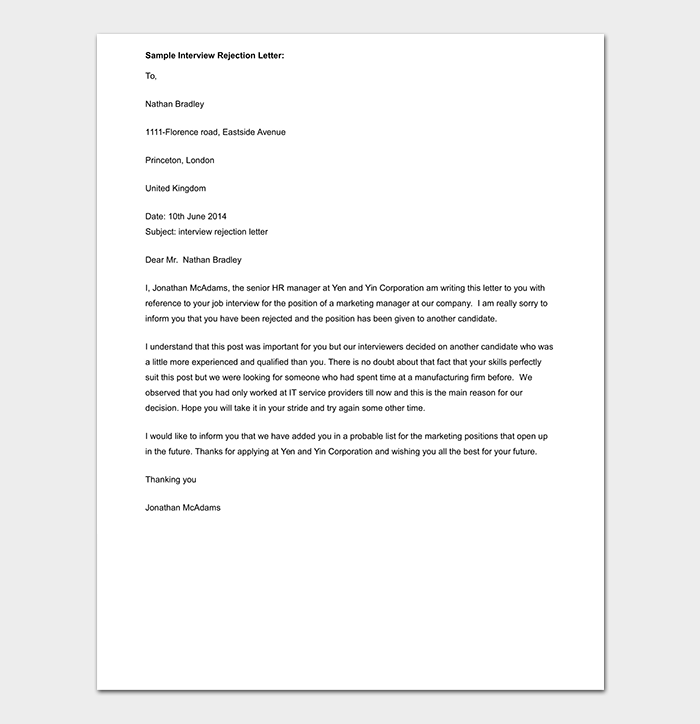 reply to rejection letter to spontaneous application