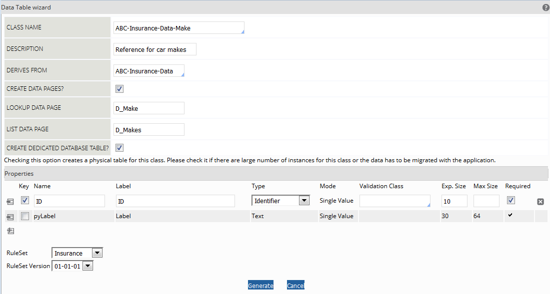 new application wizard in pega