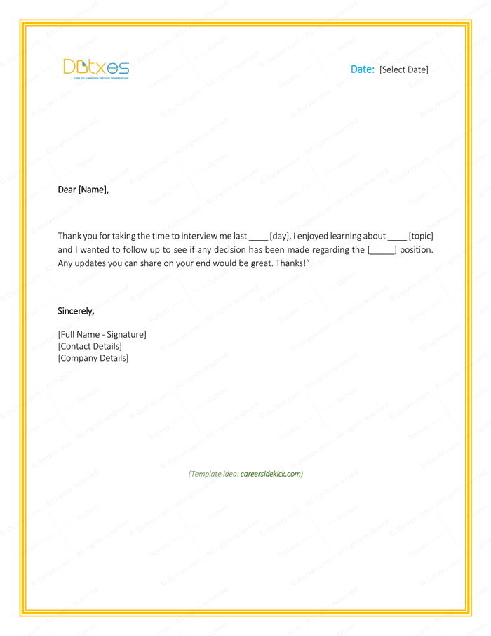email back after application template