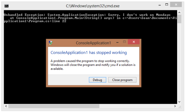 unhandled exception has occurred in your application c
