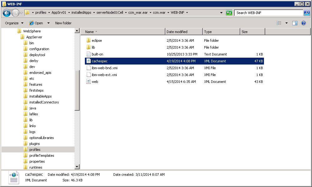 websphere application server cachespec.xml