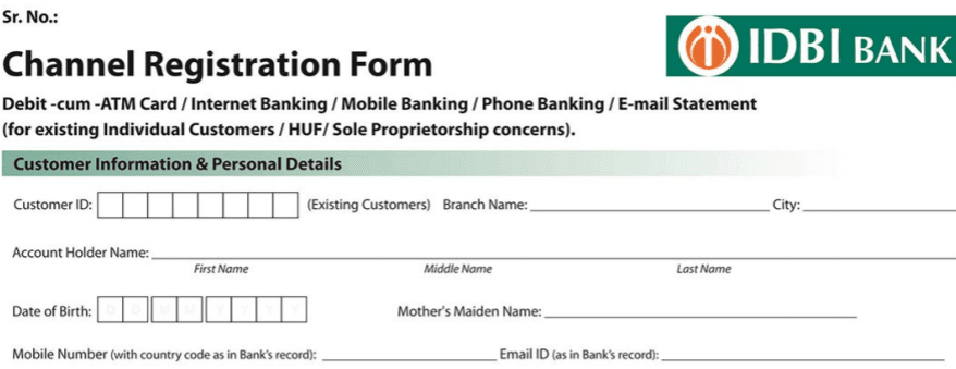 indian bank mobile banking application form