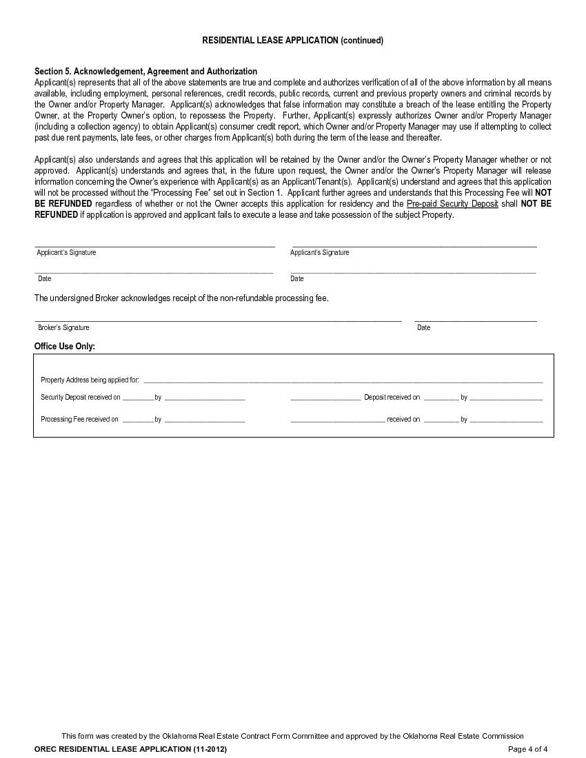 what is a residential lease application