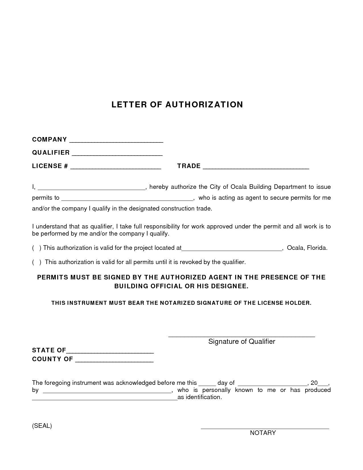 authorization letter for application of license