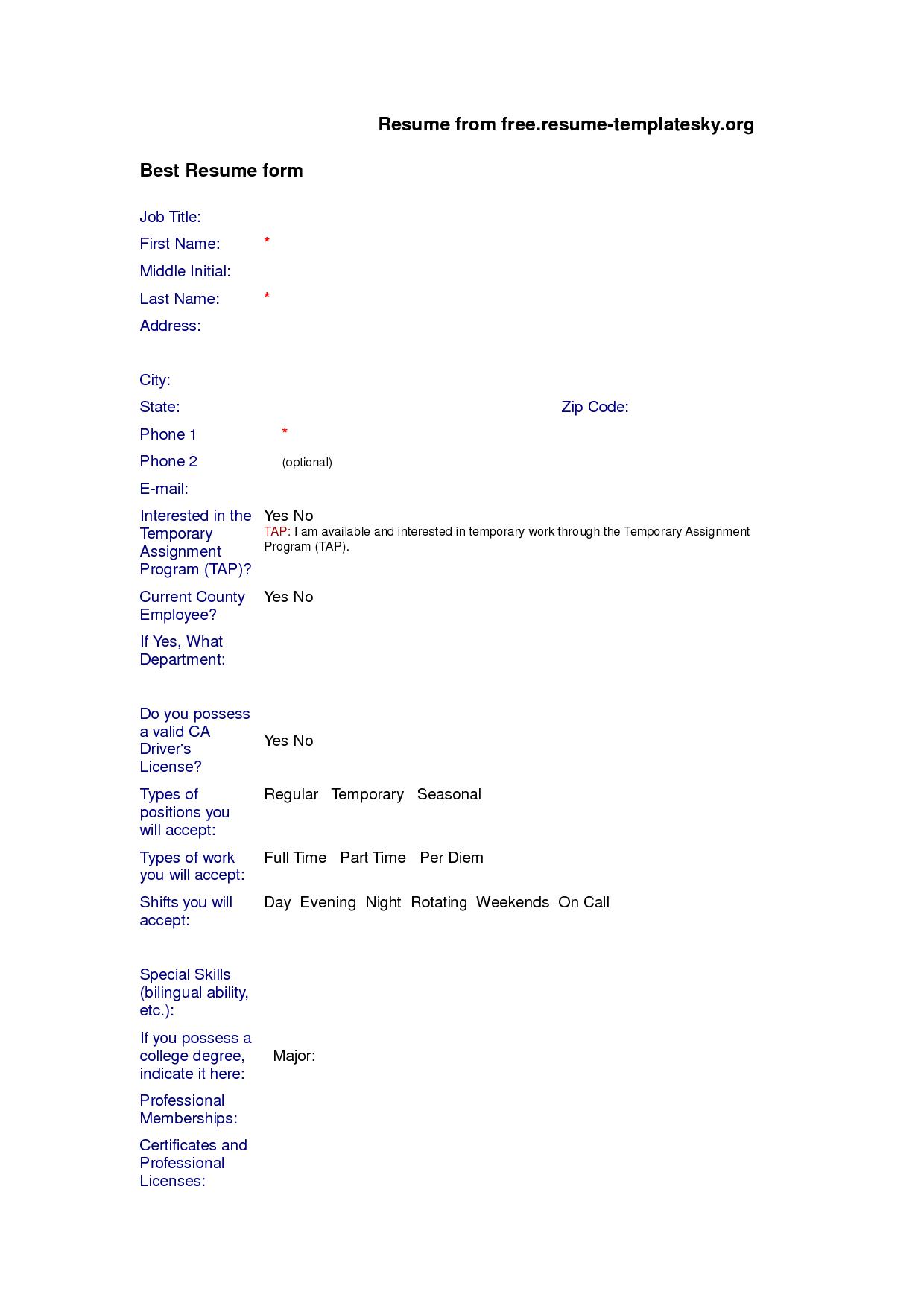format of resume for job application pdf