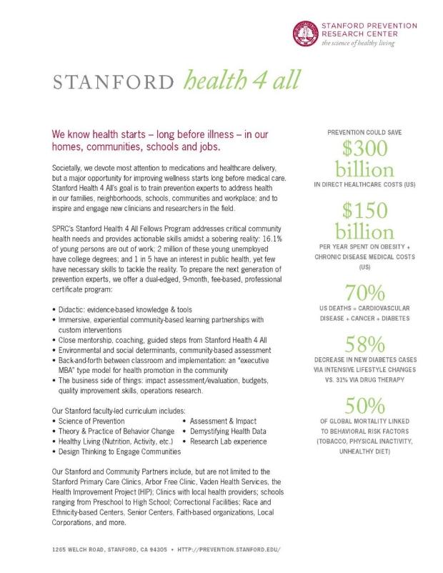 stanford fellowship application global child health epidemiology
