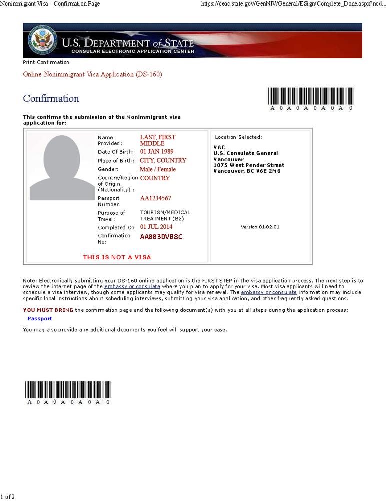 us visa application b 160 form