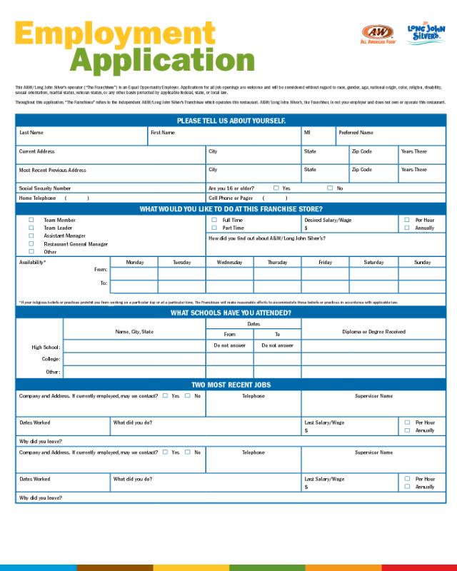 long john silvers job application pdf
