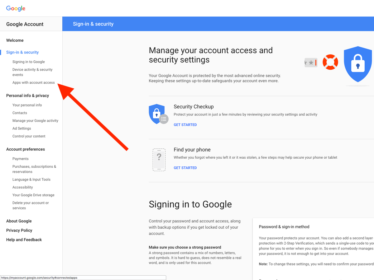 google application how to access