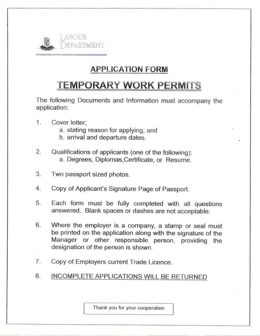 application of reissue of work permit