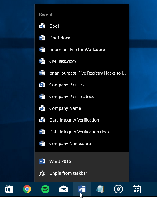 clear win 10 application recent list