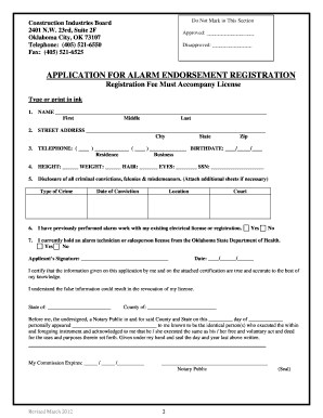 application for endorsement of a rating