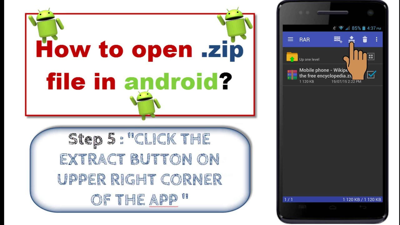 android application to extract zip files