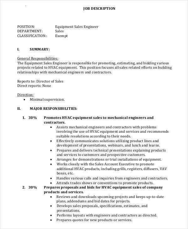 application engineer job description mechanical
