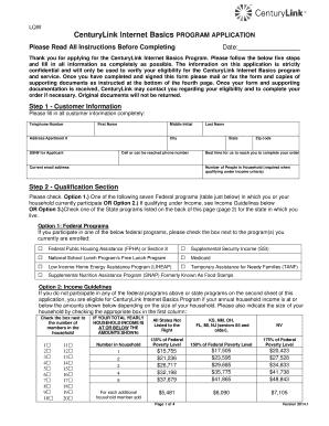 centurylink internet basics program application