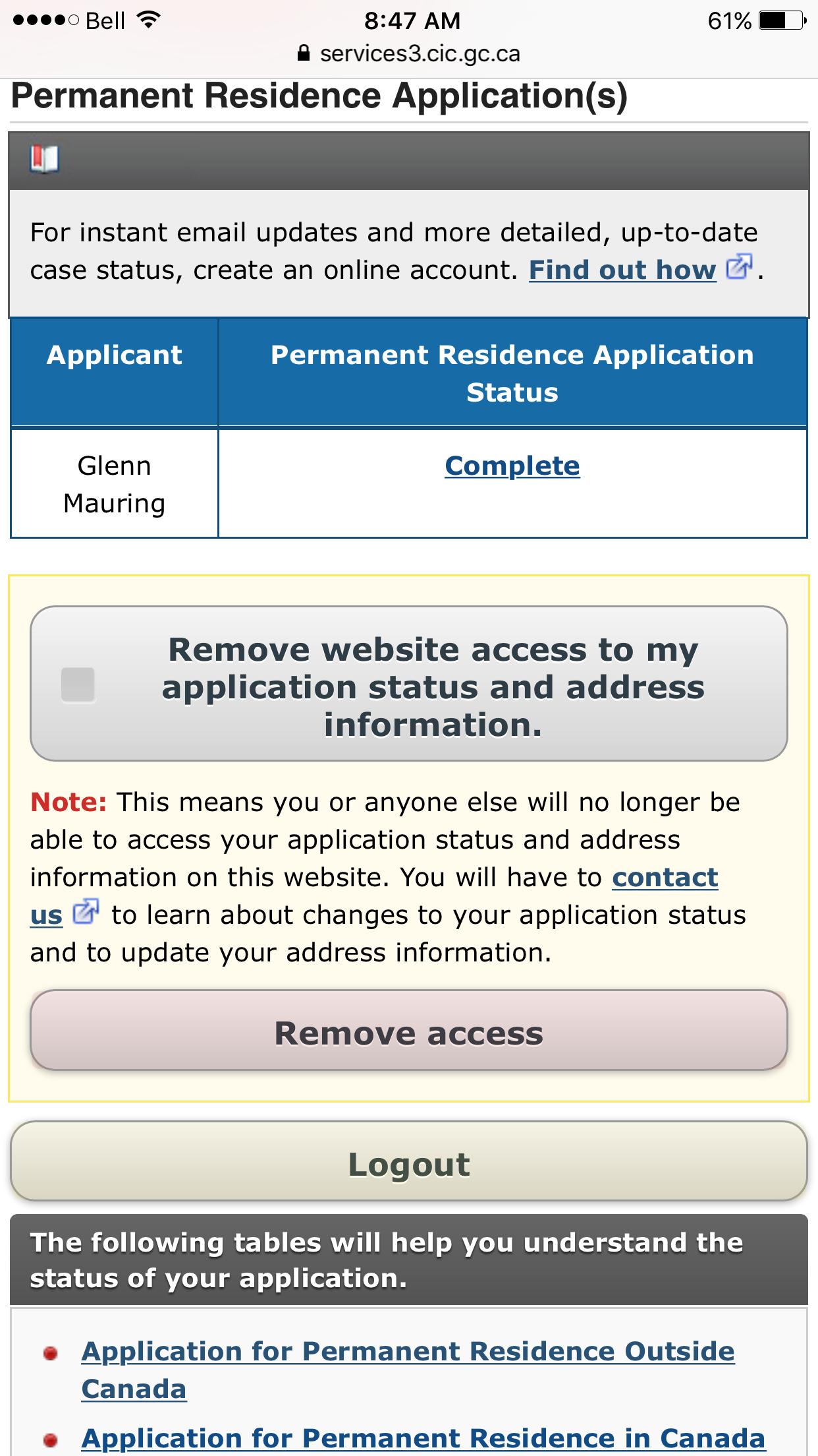 cic application status decision made 2017