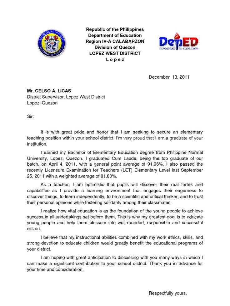 sample resume and application letter for teachers