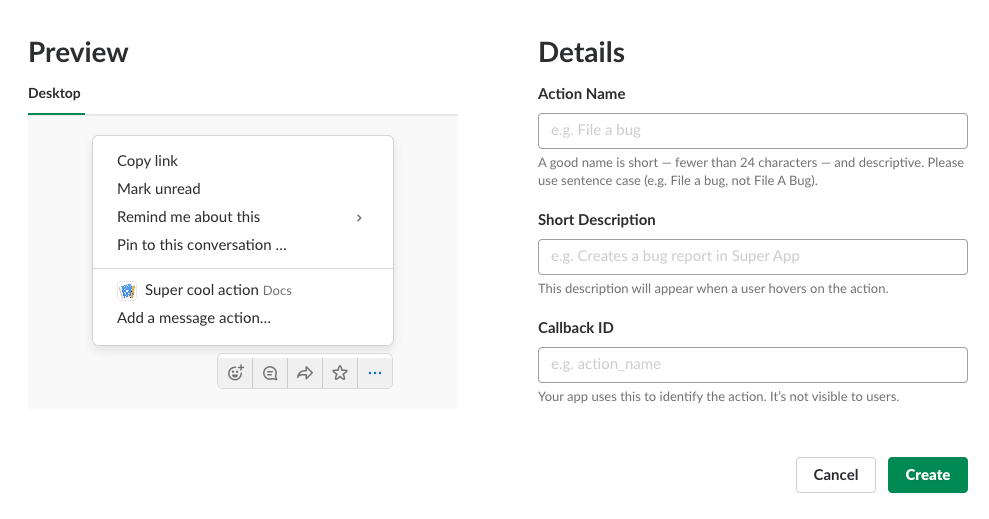 create a new slack api application