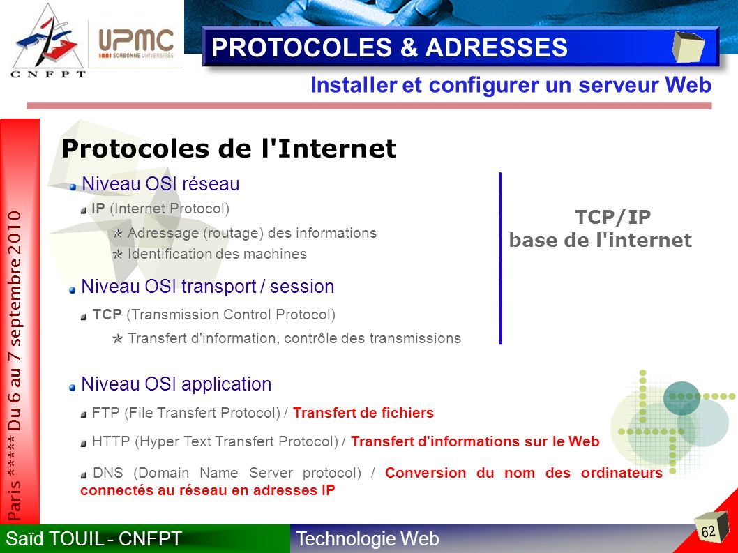 serveur web ftp dns application reseau