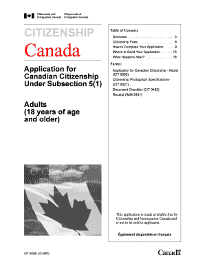 adult grant for canadian citizenship application