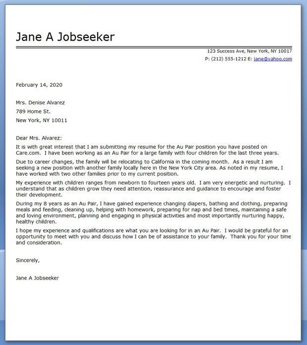 job application cover letter template australia