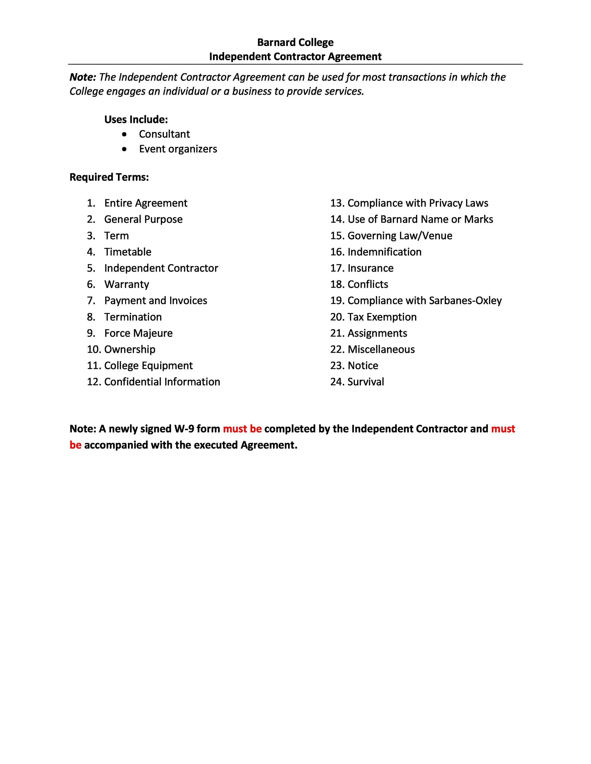 independent contractor application form free