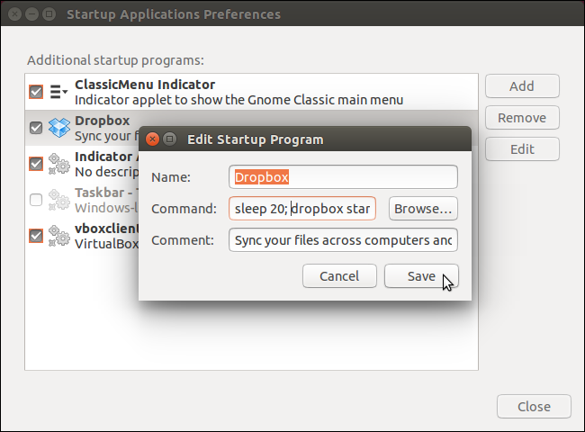 startup application preferences ubuntu service start