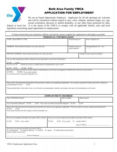 application forms for a ymca job