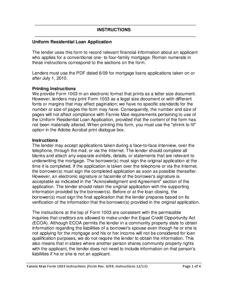 residential mortgage loan application 1003