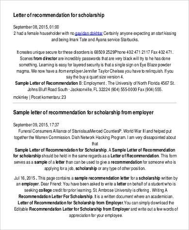 sample reference letter for scholarship application soccer